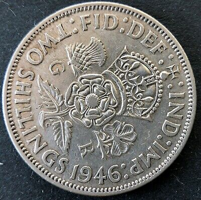 1946 United Kingdom (Great Britain) Silver two (2) Shillings coin