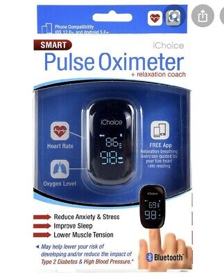 iChoice Smart Pulse Oximeter + Relaxation Coach Bluetooth Heart Rate & Oxygen