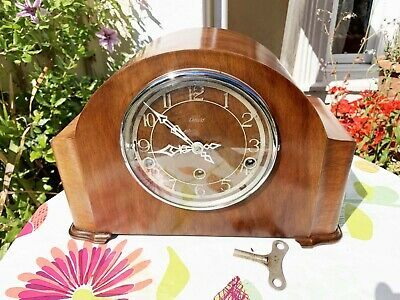 Restored Vintage 1930s Enfield Mahogany Westminster Chiming Mantel Clock