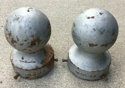 "2 Antique Cast Iron Architectural Cannon Ball Finials 7-1/2"" Tall Vintage Topper"