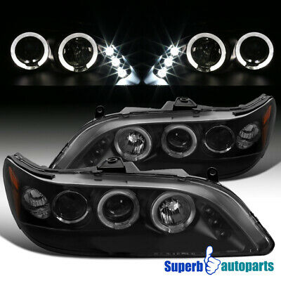 For 1998-2002 Honda Accord LED Dual Halo Projector Headlights Black