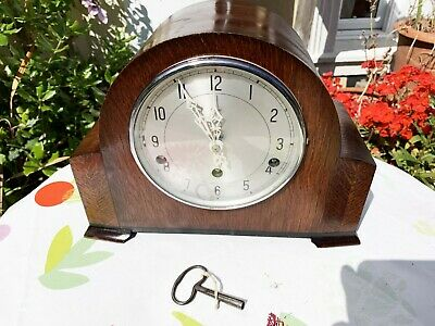 Overhauled Excellent Vintage Enfield 1940s Westminster Chiming Mantel Clock