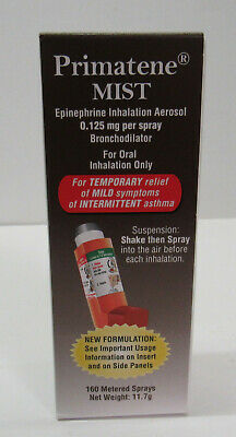 Primatene Mist Inhaler Asthma Temporary Relief 160 Metered Sprays Exp: 1/22 New