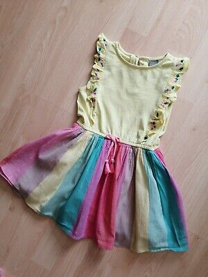 Girls Next Summer Dress With Multi Coloured Rainbow Skirt Age 2-3 Years