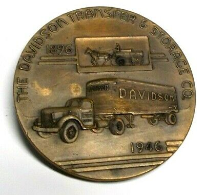 Vintage 1946 Davidson Transfer & Storage Co. 50 Year Anniversary Bronze Medal