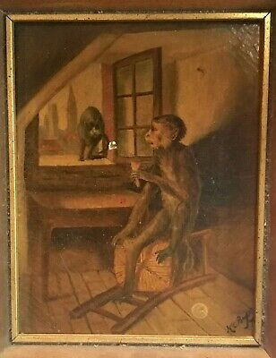 Unusual Antique 19th Century Victorian Oil Painting Monkey & Cat Signed Bagley ?