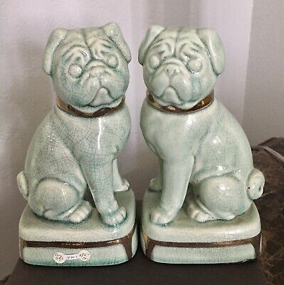 """Pair of Vintage ceramic Pug bookends 8"""""""