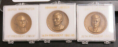 Presidents Washington Linconl Kennedy High Relief Medals in Original Cases