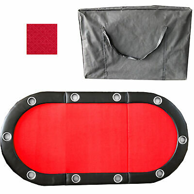"""Red 84"""" 10 Player Tri-Fold Folding Poker Table Top Speed Cloth & Carrying Case"""