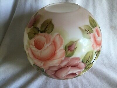 Antique Gone With The Wind Pink Hand Painted Roses Glass Globe Oil Lamp Shade