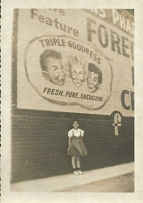 Vintage Photo  1950s FOREMOST MILK ICE CREAM PAINTED WALL SIGN on Building