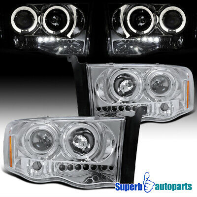 For 2002-2005 Dodge Ram LED Halo Projector Headlights Replacement Pair