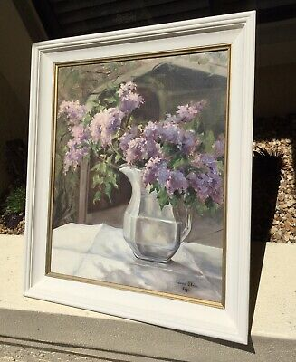 GORGEOUS 1960 OIL PAINTING / Signed / ARTIST GALLERY SHOW / LILACS / STUNNING