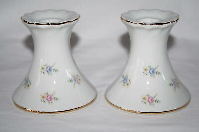 Set of 2 Made in Japan White Porcelain Candlesticks with Pink Purple Roses #1964