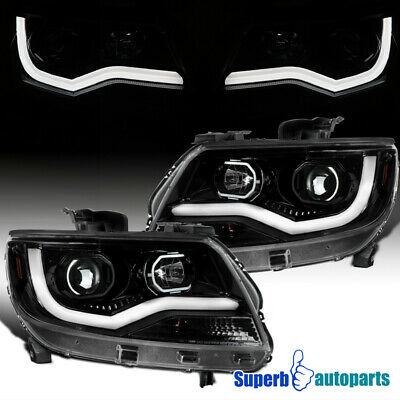 For 2015-2020 Chevy Colorado LED DRL Strip Polished Black Projector Headlights