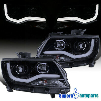 For 2015-2020 Chevy Colorado LED DRL Strip Glossy Black Projector Headlights
