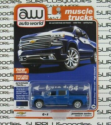 Auto World 1:64 2020 R2 Muscle Trucks Blue 2019 CHEVROLET SILVERADO HIGH COUNTRY