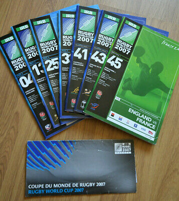 IRB Rugby World Cup France Coupe du Monde 2007 Match Programmes 7 good condition