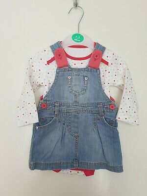 Girls Denim Dress & Vest Outfit. Age 3-6 Mths. From Marks & Spencer. BNWOT!