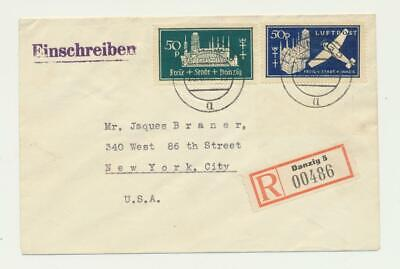 DANZIG GERMANY -USA 1938 AIRMAIL COVER, Sc#C41a/221a (SEE BELOW)
