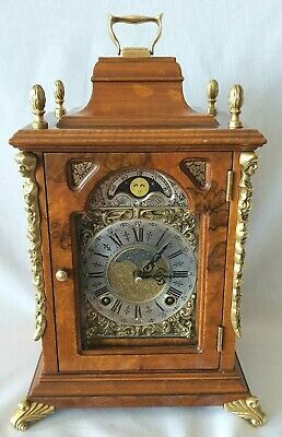 Warmink Mantel Clock Dutch Moon Dial 8 Day Key Wind Bell Strike Vintage Wubba