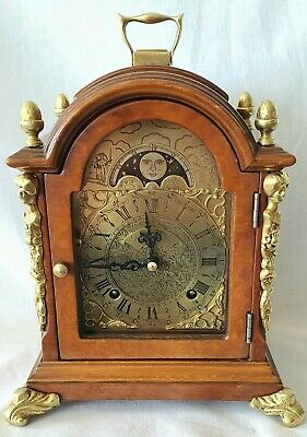 Warmink Mantel Clock Dutch Shelf Moon Dial 8 Day Key Wind Bell Strike Silent Op