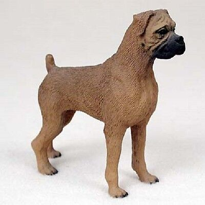 BOXER Tawny Uncropped ears Dog HAND PAINTED FIGURINE Resin Statue Puppy NEW