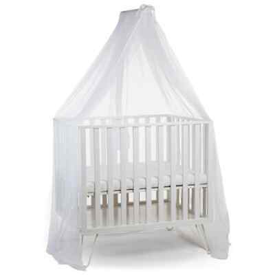 CHILDHOME Canopy Holder with Mosquito Net White Cradle Crib Drape Accessory#