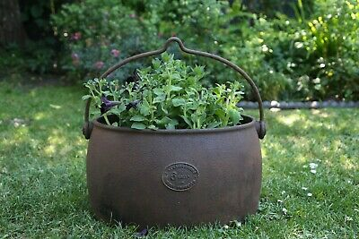 Rare Antique Cast Iron A Kenrick Cooking Pot Cauldron Coal Bucket Garden Planter