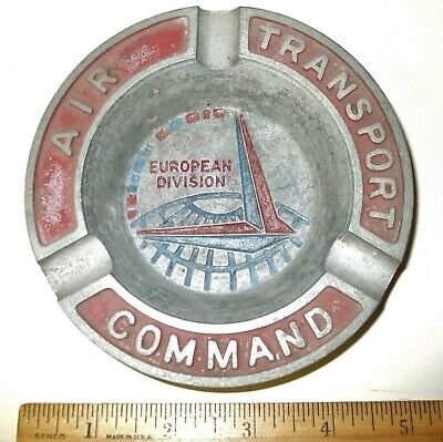 Us Army Air Corps Air Transport Command Ashtray European Division With Insignia