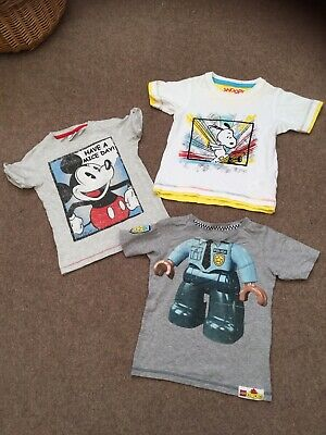 Boys Marks & Spencer T Shirt Bundle Age 2-3 Years. Lego, Snoopy, Mickey Mouse.