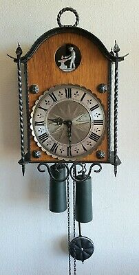 Rare German Wall Clock Automated Novelty Clock Vintage 8 Day Weights Pendulum