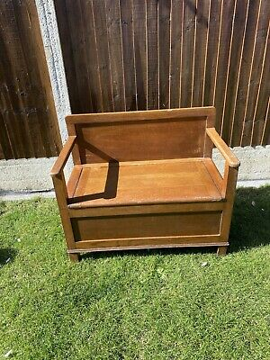 Antique Solid Oak Monks Bench Settle Pew Chair With Storage