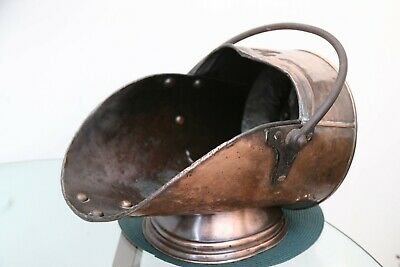 Antique Large Victorian Hammered Copper Coal Scuttle Bucket 1891 Arthur J Poole