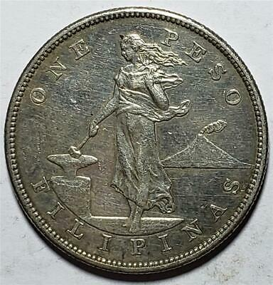 Philippines, Peso, 1903S, Extra Fine, Cleaned, .78 Ounce Silver