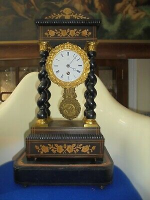 Antique French 19th Century Partico Clock. See Photos, No Reserve. Mantel Clock.