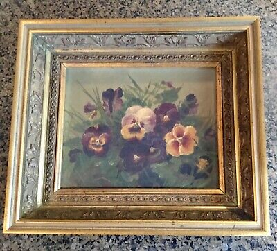 Gorgeous Antique 19th Century Victorian Still Life Oil Painting Flowers Mystery
