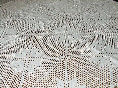 Vintage White Cotton Hand Crochet Table Cloth/Throw.