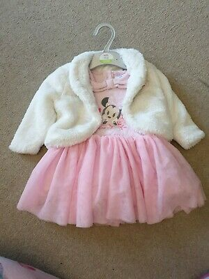 Disney Baby Minnie Mouse Pink Tutu Dress With White Fluffy Jacket 12-18 Months