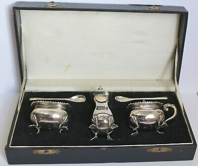 A Chinese 935 standard Sterling silver cruet set cased ~ all pieces stamped