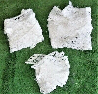 3 Pieces Of Antique/Vintage White Cotton Lace Removed From Tablecloths Etc: Used