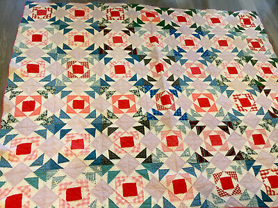 Vintage Patchwork Quilt, 1930's, Nine Patch With Triangles, Hand Quilted, Multi