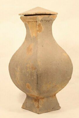 Chinese Han Dynasty 206 BC to 220 AD pottery Hu vase with lid