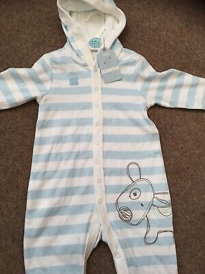 Marks & Spencer Baby Boys Blue White Striped Hooded All In One Romper. Age 9-12M
