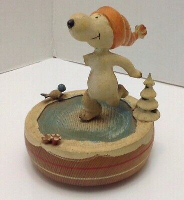 Vintage 1968 United Features Syndicate Italy Snoopy Wood Music Box Skaters Waltz