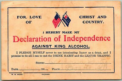 "Vintage 1900s TEMPERANCE PLEDGE Card Ephemera ""Against King Alcohol"" Prohibition"