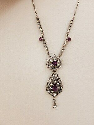 56z antique Georgian or early victorian necklace sterling silver amethyst paste