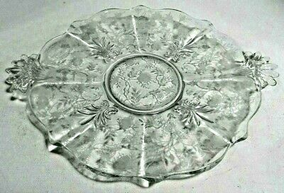Vintage Fostoria Baroque Chintz Etching Crystal Clear Dessert Serving Plate