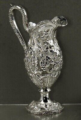 Loring Andrews Sterling Pitcher         c1890 Hand Decorated