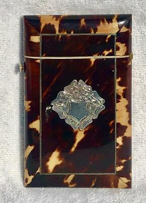 Beautiful Victorian Faux Tortoiseshell & Silver Inlay Calling Business Card Case